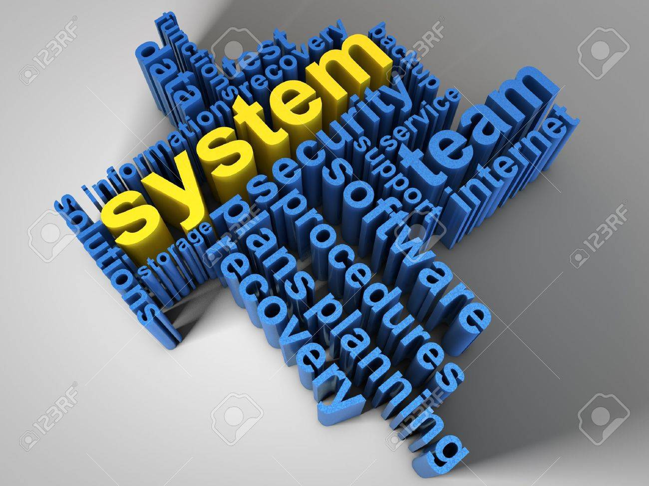 System, surrounded by relevant words Stock Photo - 13187071