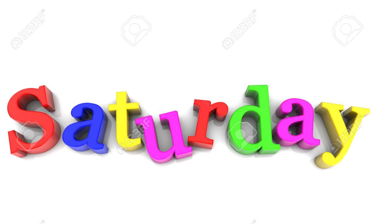 Saturday, day of the week multicolored over white Background Stock Photo - 17358049
