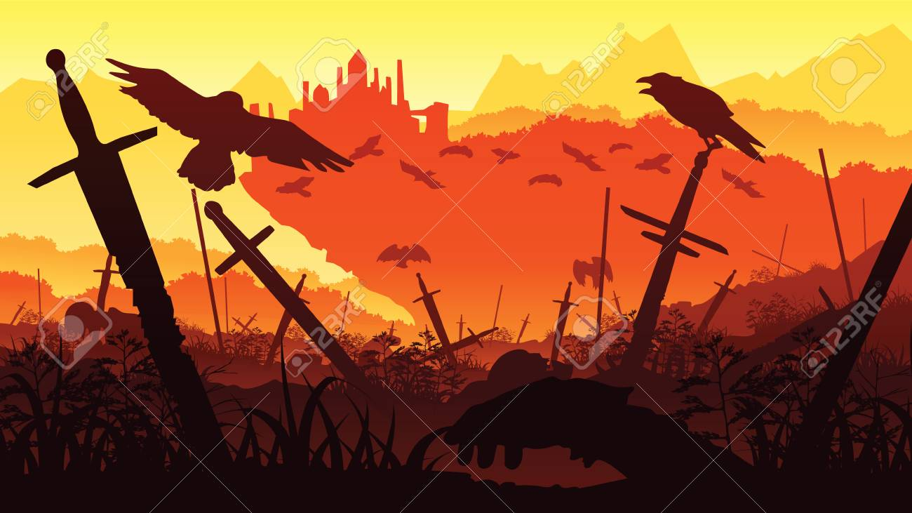 A high quality background of landscape with the fallen soldiers in the battle for the castle. Background of a swords and crows. Flat style. - 96366869