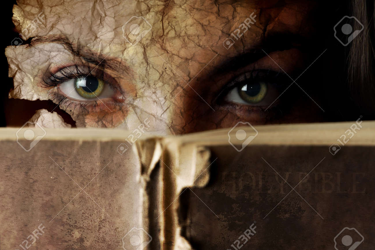 Conceptual photo of old Bible and cracked face Stock Photo - 2683695