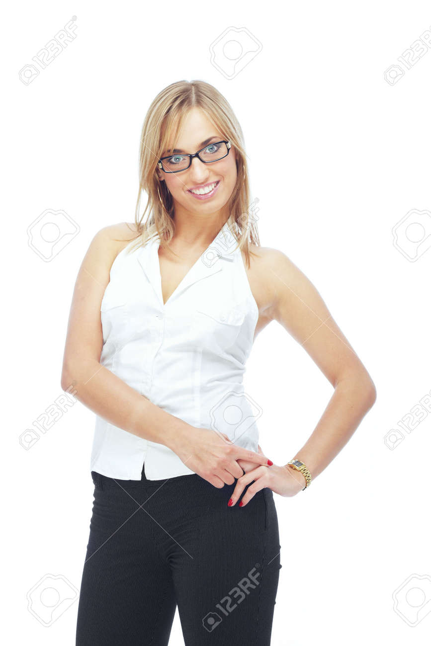 Natural beauty of the woman with eyeglasses on a white background Stock Photo - 4344389