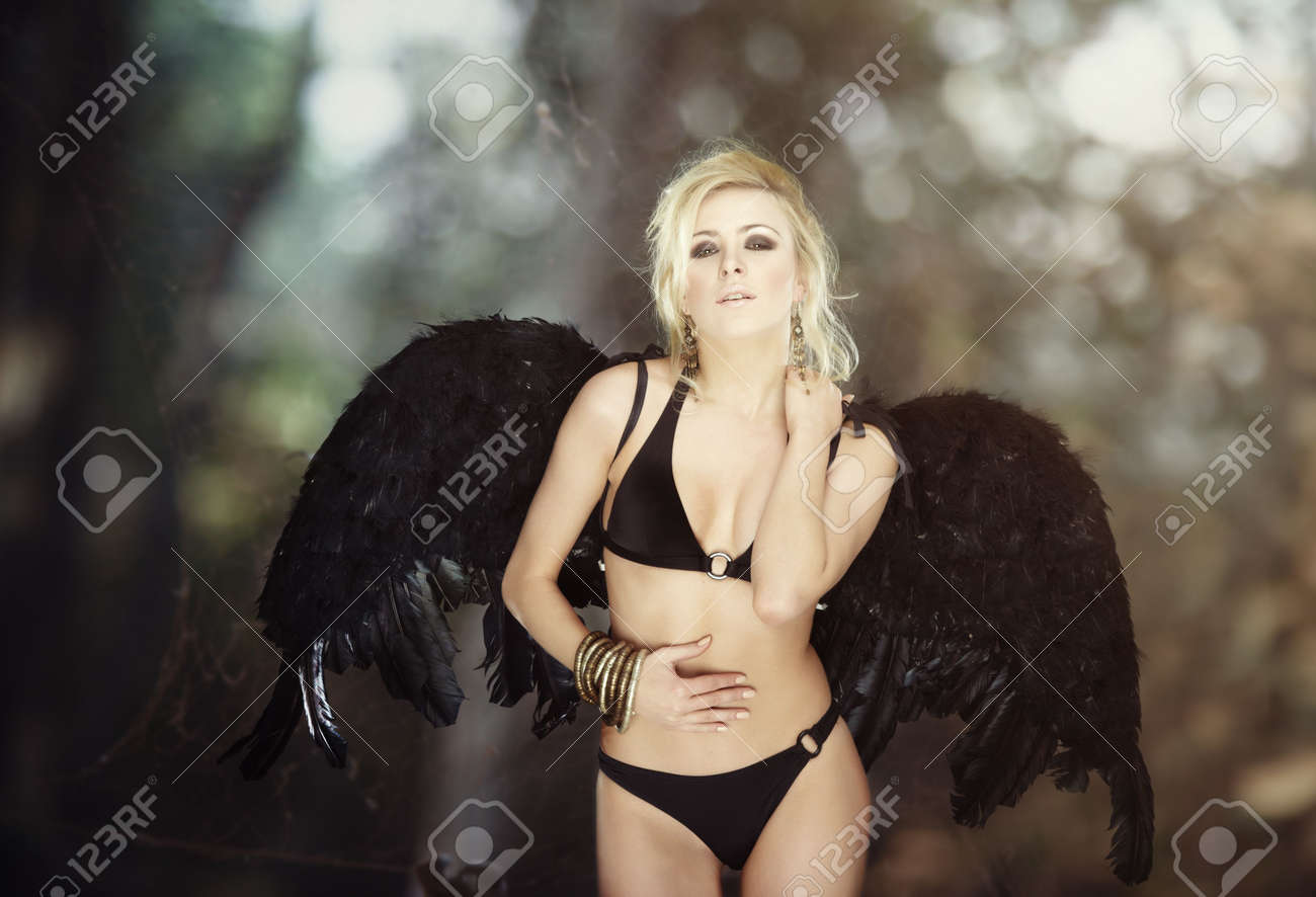 Blond female angel with black angel wings on abstract background with spider net Stock Photo - 7954491