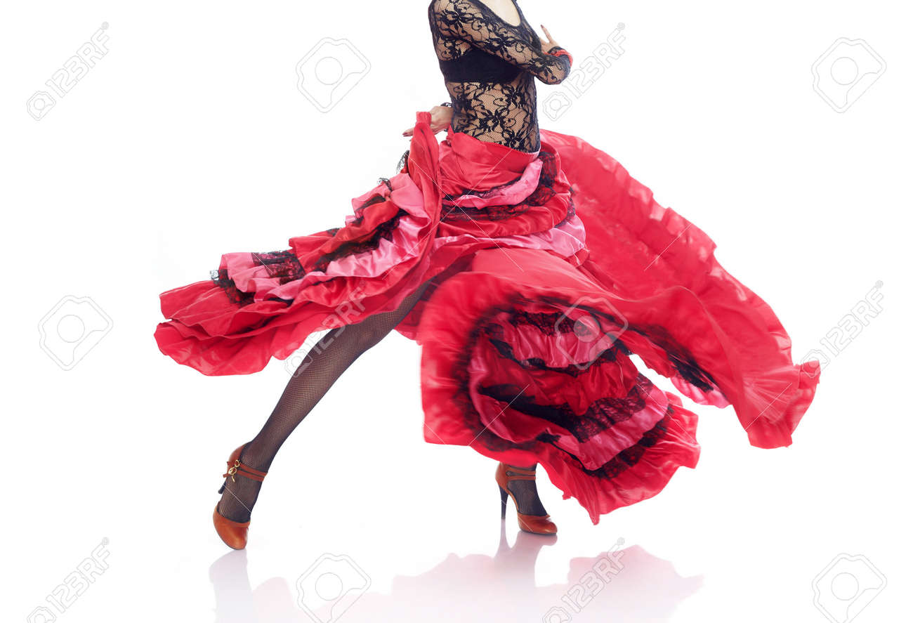 Unrecognizable lady in Gypsy costume dancing flamenco on a white background - 8463483