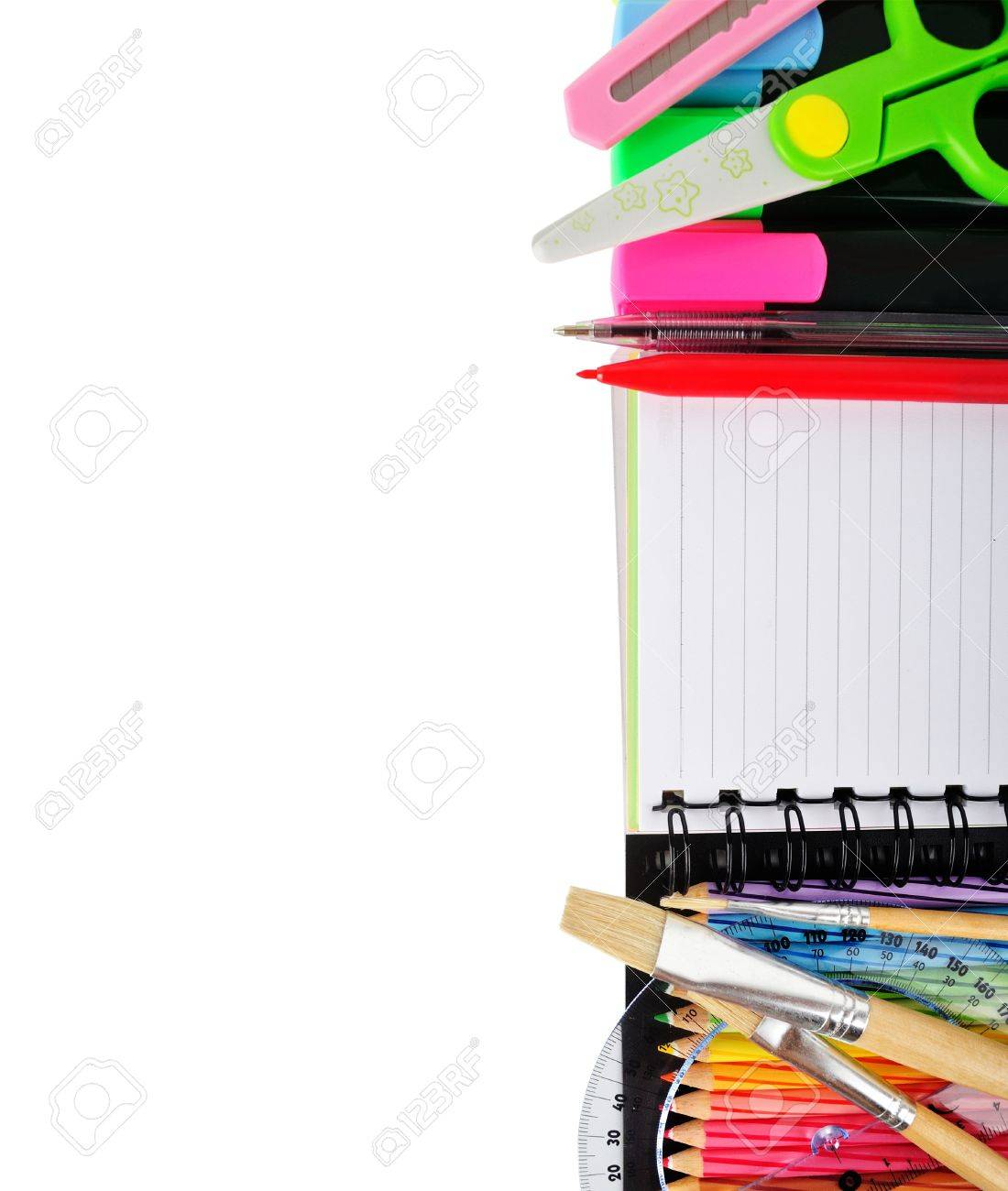 School stationery isolated over white for layout design and copy space stock photo 19221909