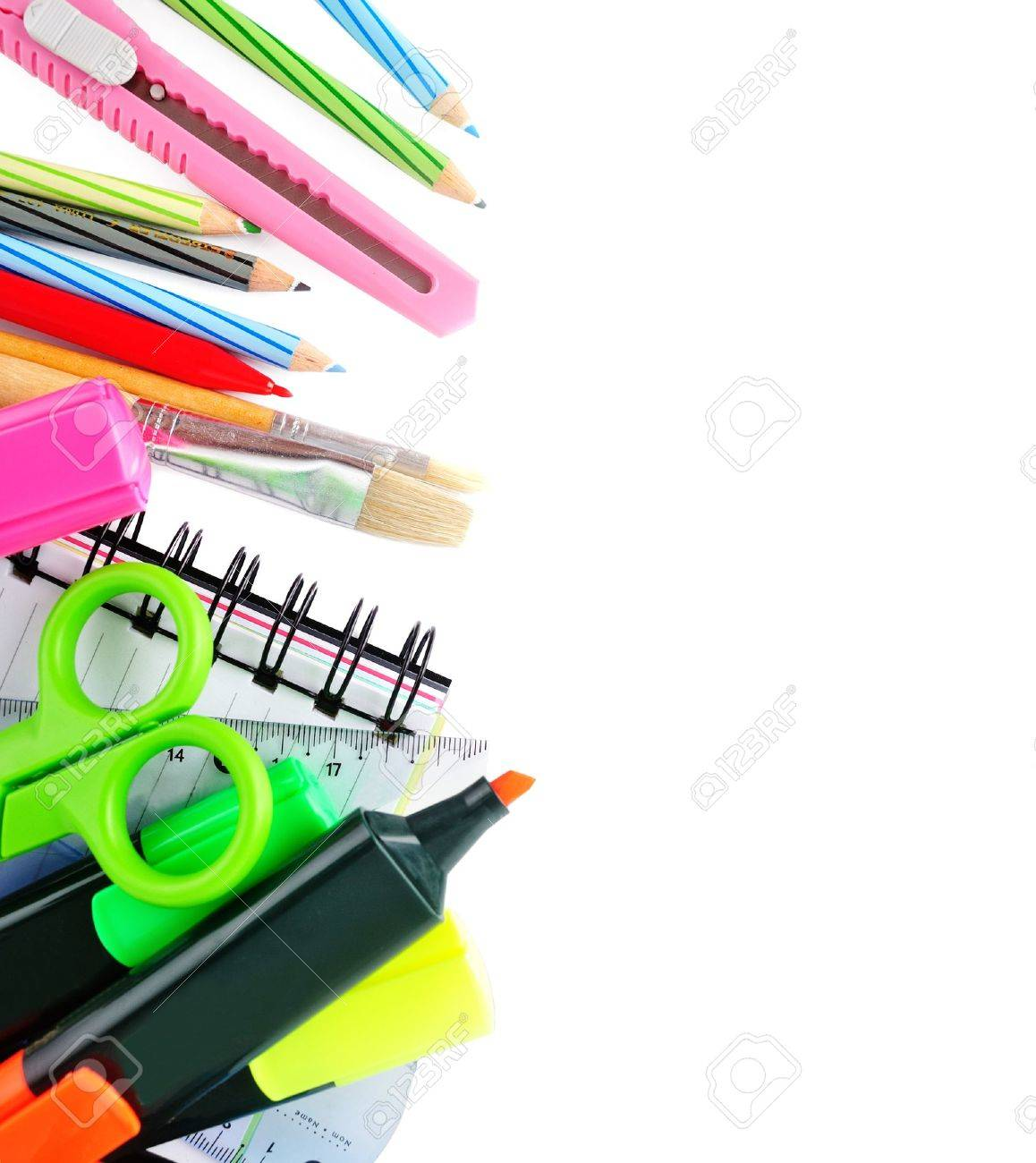 School stationery isolated over white for layout design and copy space stock photo 19221905