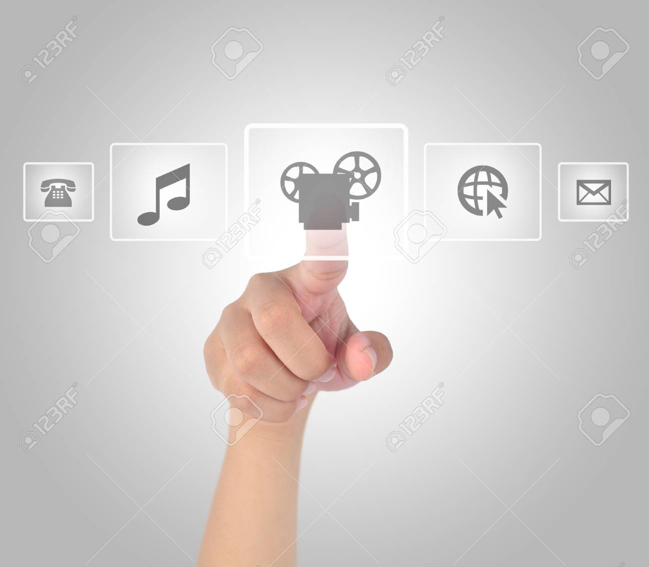Hand touching media in modern touch screen Stock Photo - 19329168