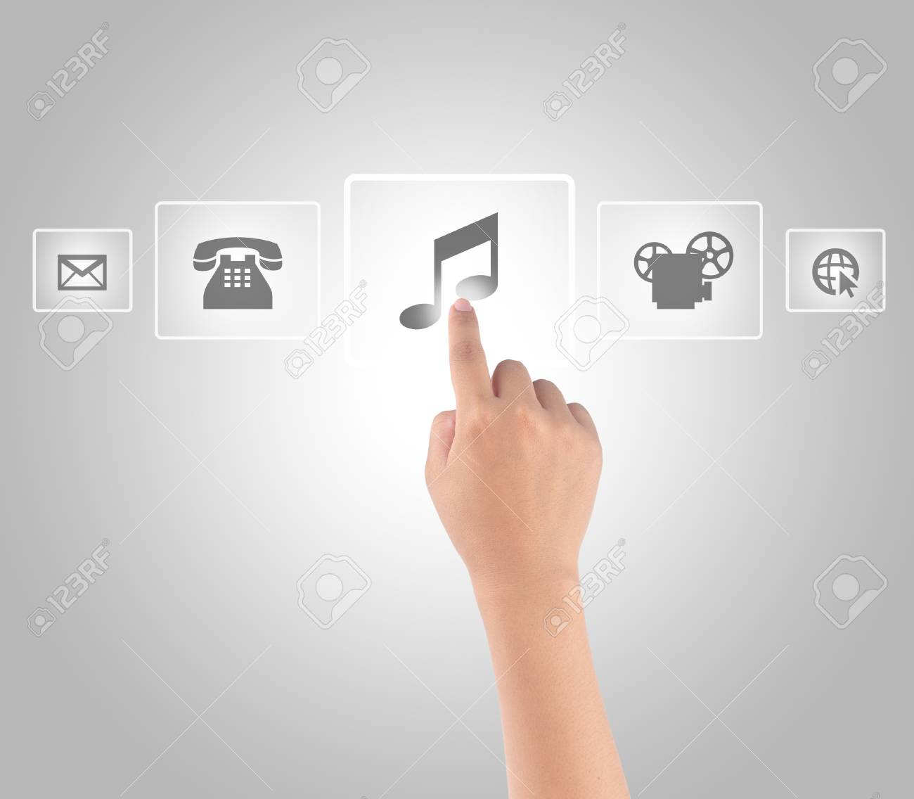 Hand touching media in modern touch screen Stock Photo - 19329175