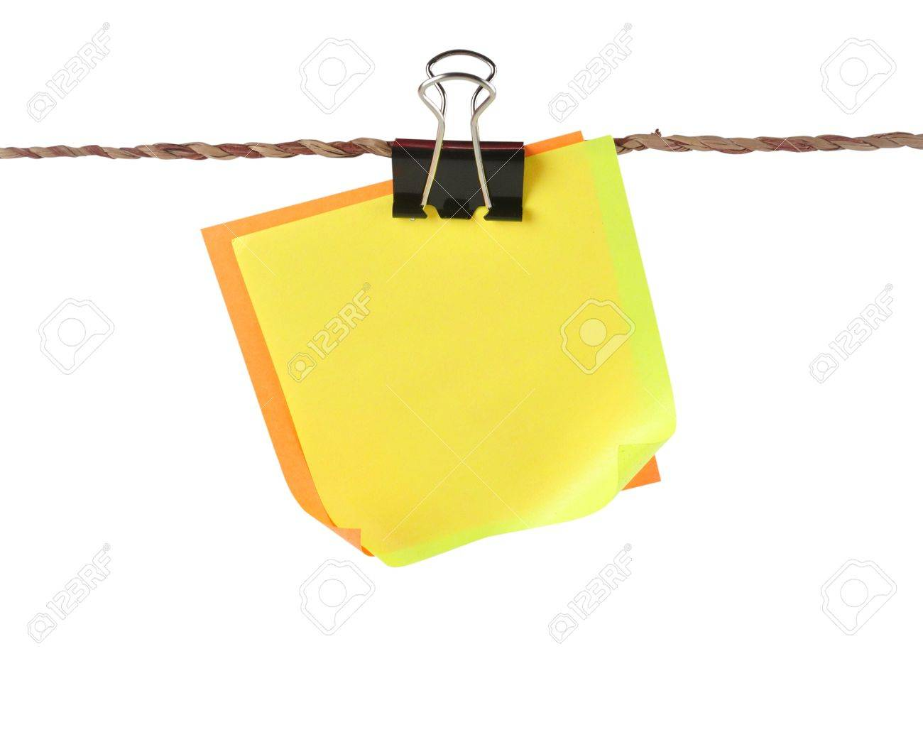 blank color papers with clip hang in small stock photo