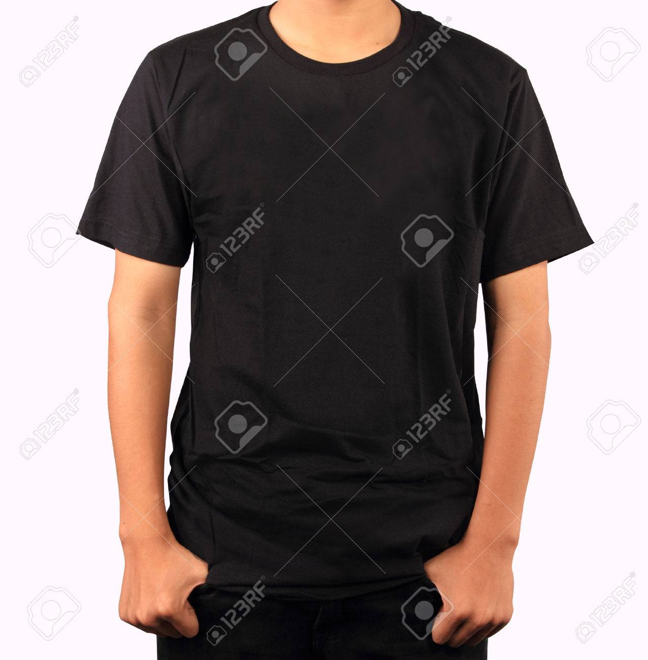 Black Tshirt Template Stock Photo Picture And Royalty Free Image - Pocket t shirt template