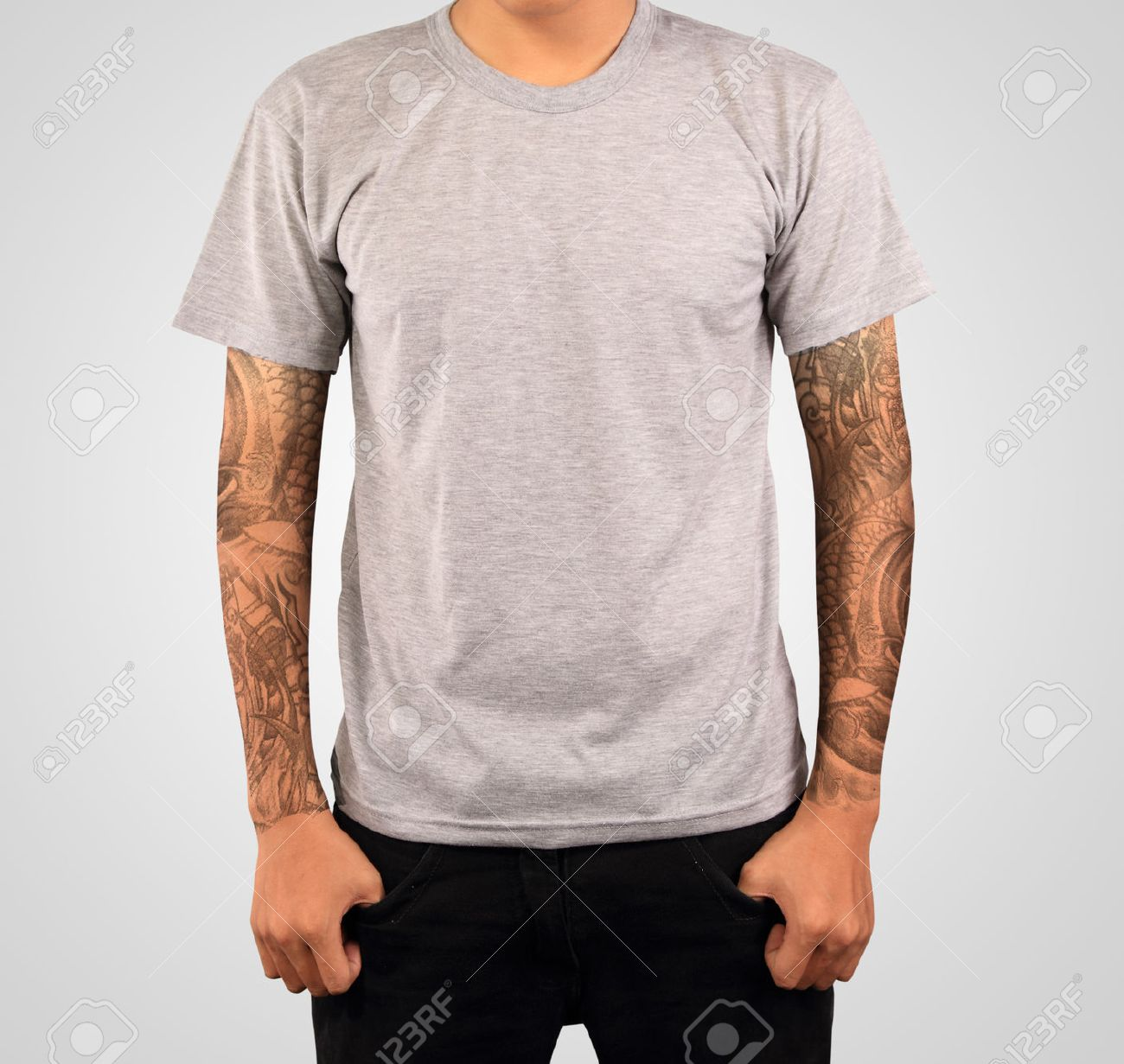 Grey T Shirt Template Stock Photo Picture And Royalty Free Image