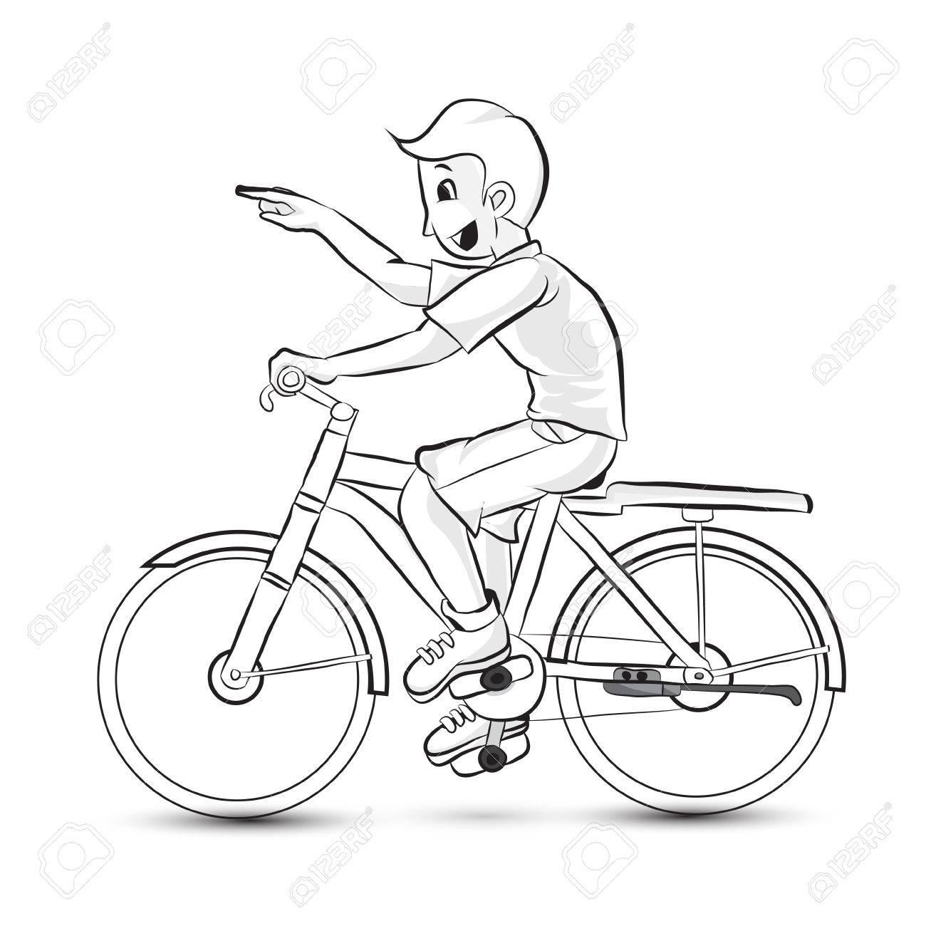 Porträt Der Glücklich Cartoon Teenager Mit Dem Fahrrad Lizenzfrei ...