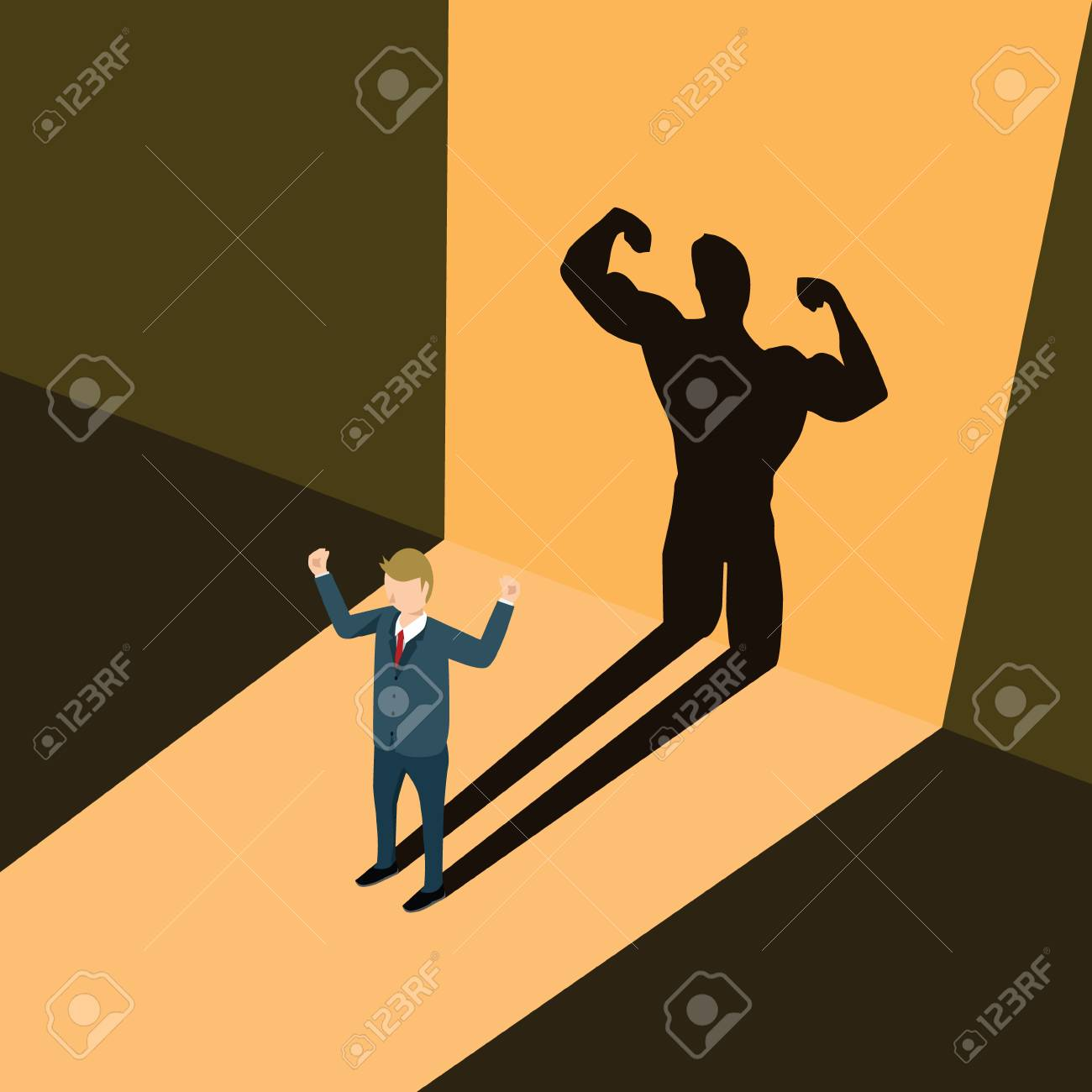 A business man casting shadow an athlete career illustration. - 82506594