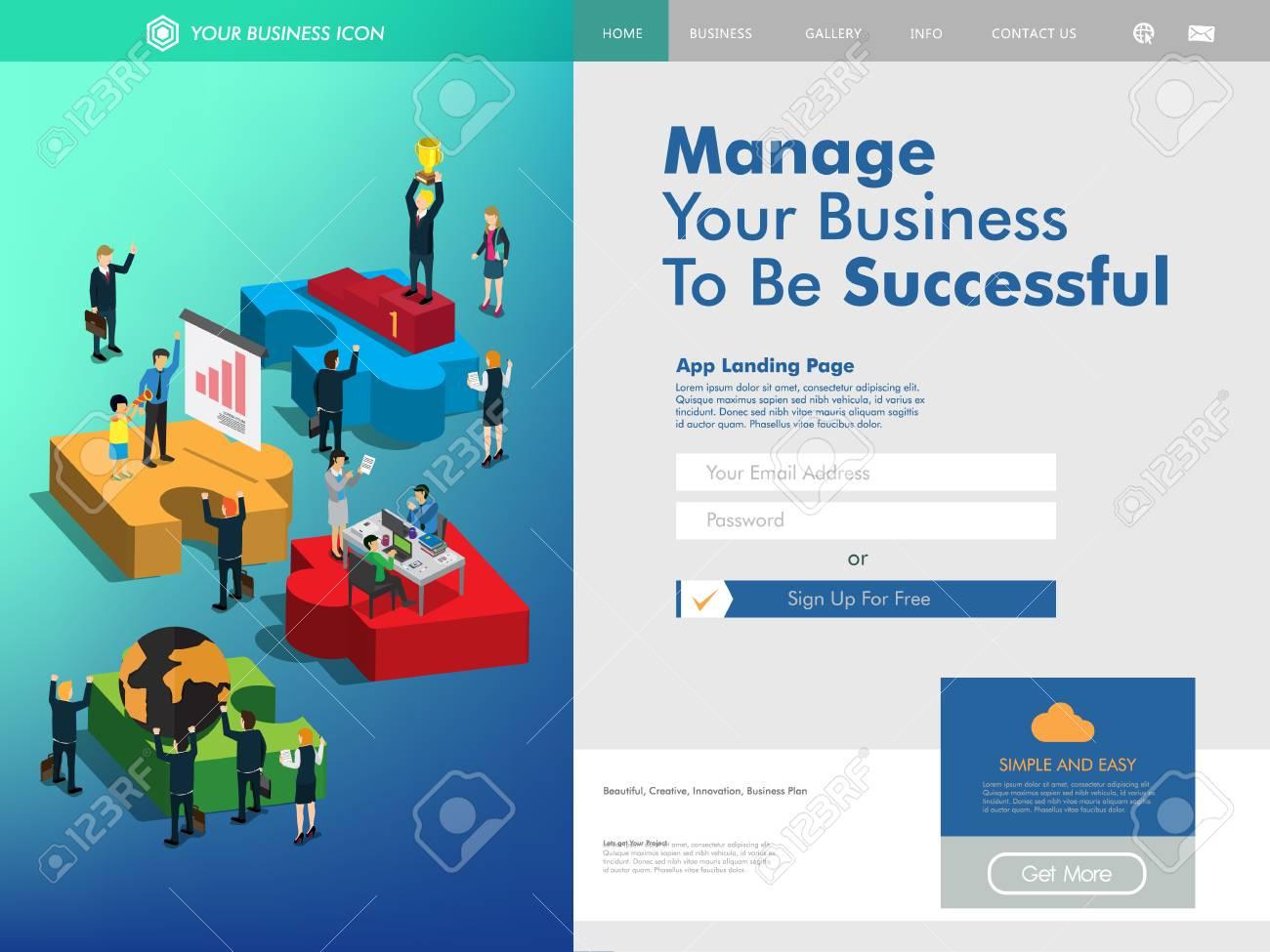 Business Management Website Landing Page Template Clip Art Libres De