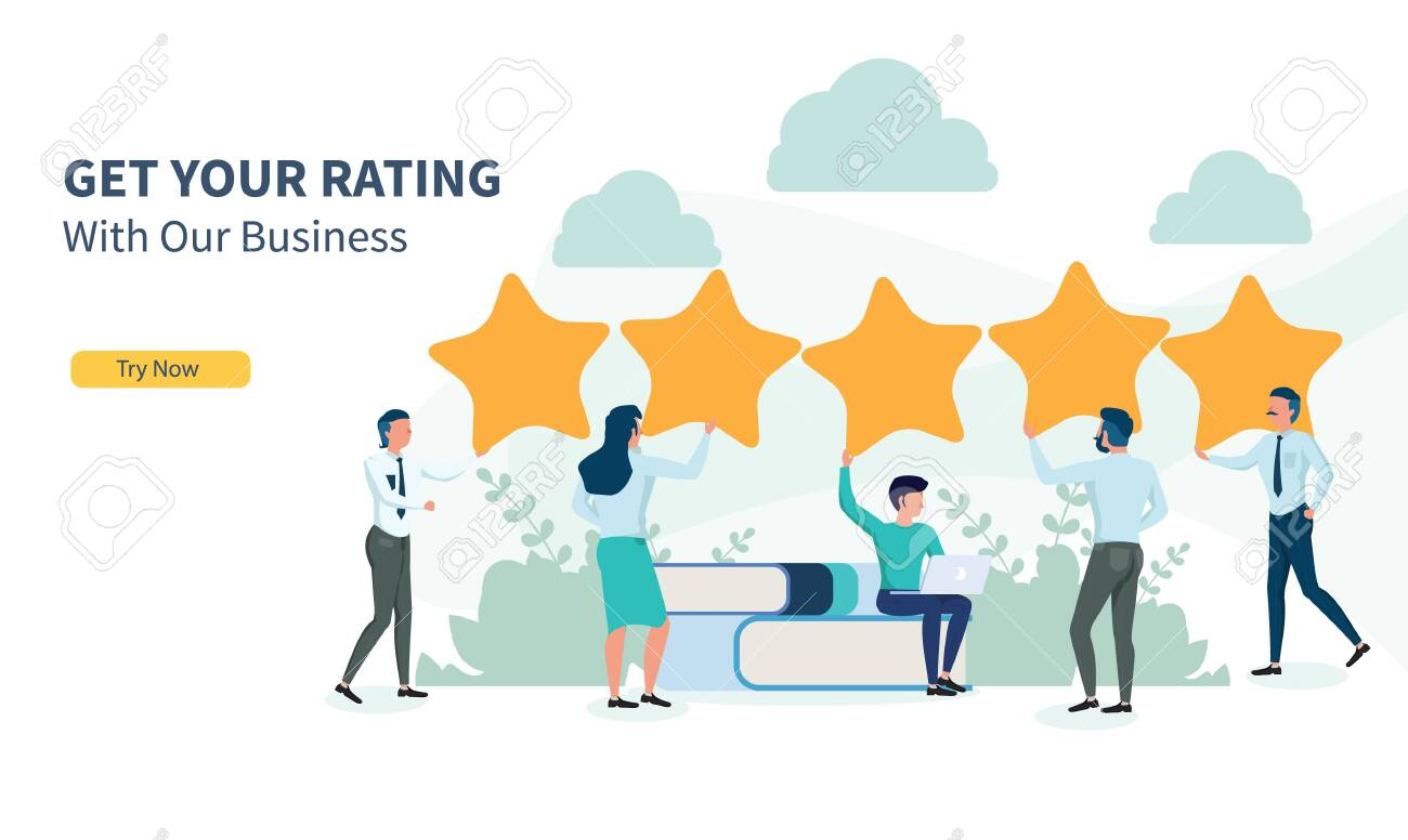 business people looking for rating with flat design and landing page - 128741555