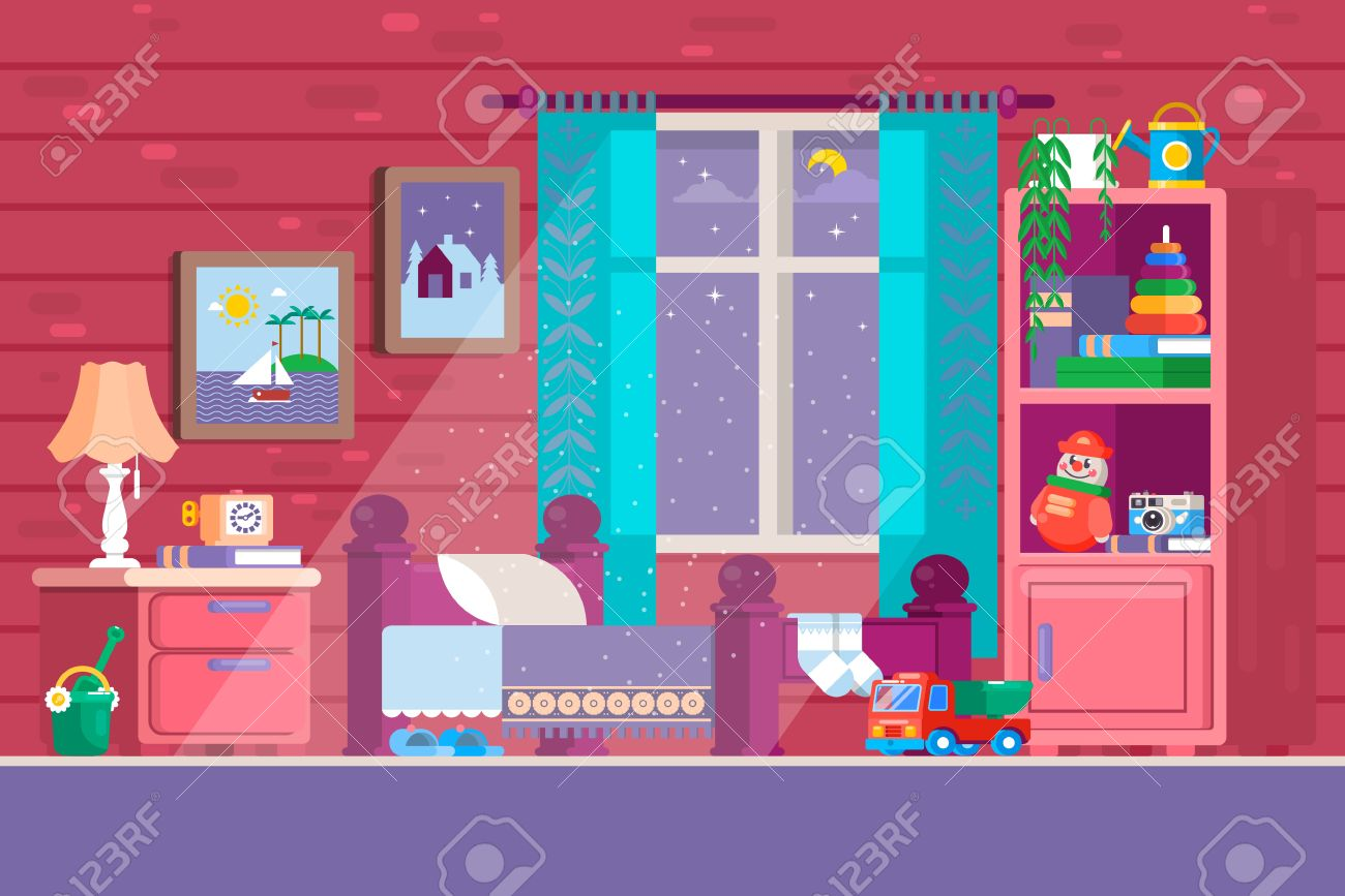 Some Kid Bedroom Illustration Of A Cartoon Children Bedroom Royalty Free Cliparts Vectors And Stock Illustration Image 80348292