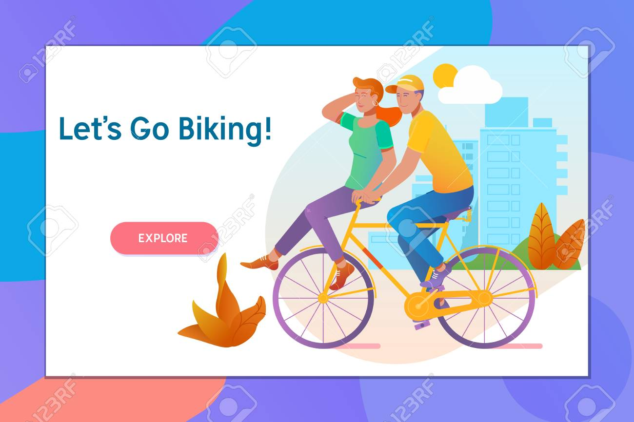 Happy Funny Young Couple Riding On Bicycle Love Relationship