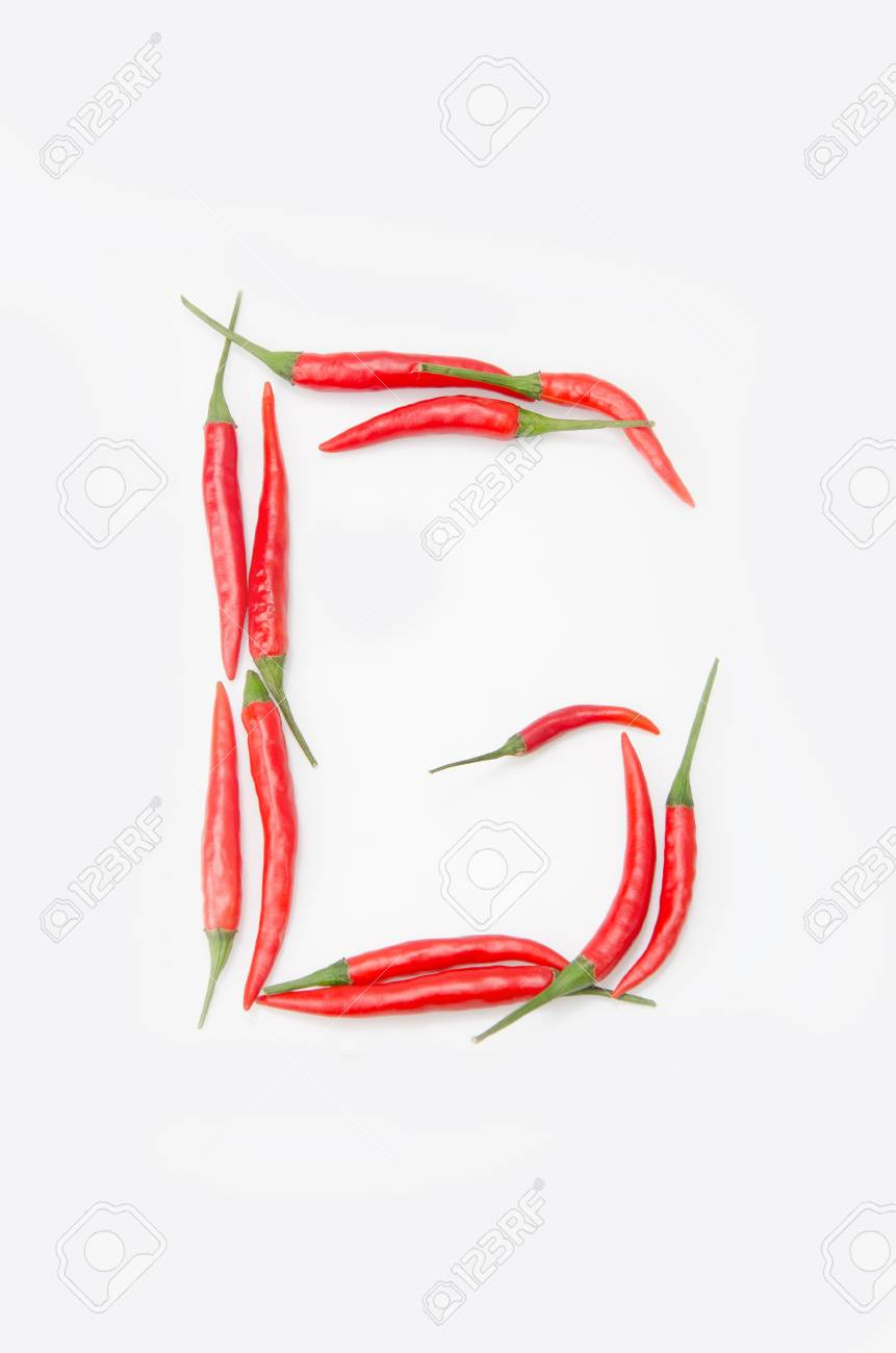 Chili Bilder bold letter g alphabet of chili pepper on a white