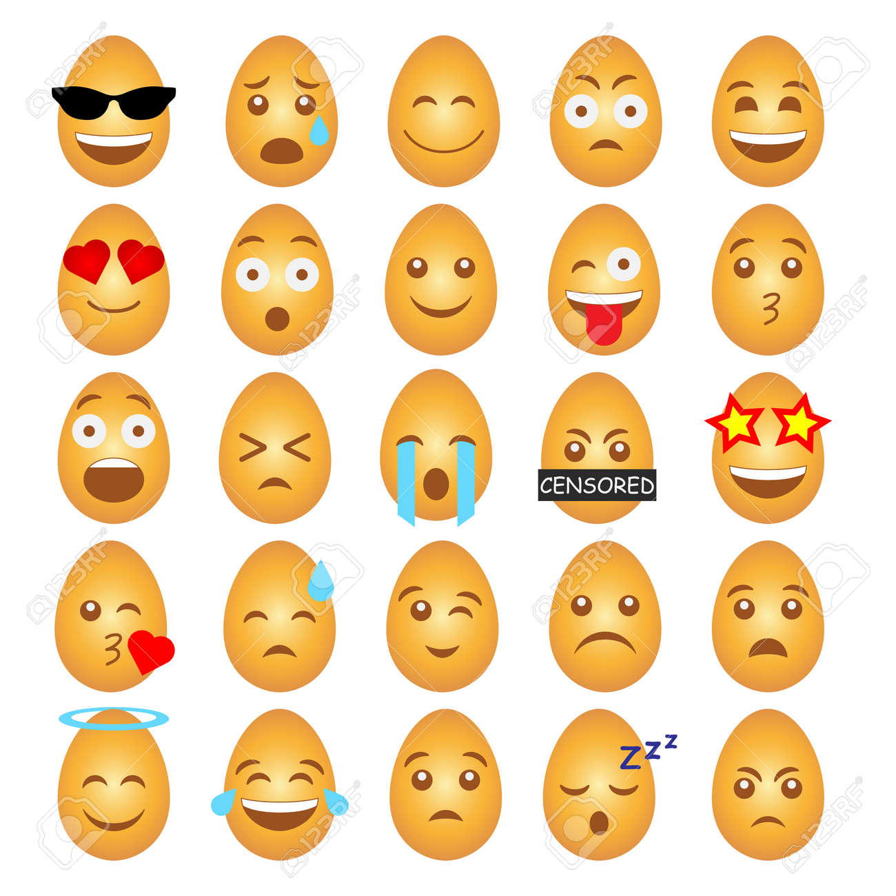A set of emoticons in the form of Easter eggs. - 165820781