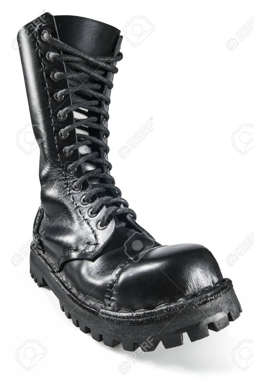 Black, Shiny, Hand Made Army Boot Stock