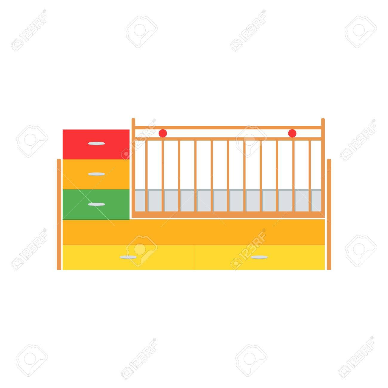 banque dimages lit bb illustration vectorielle petit lit de bb couleurs berceau dtails cot icne isol crche en bois sur fond blanc le style - Petit Lit Bebe