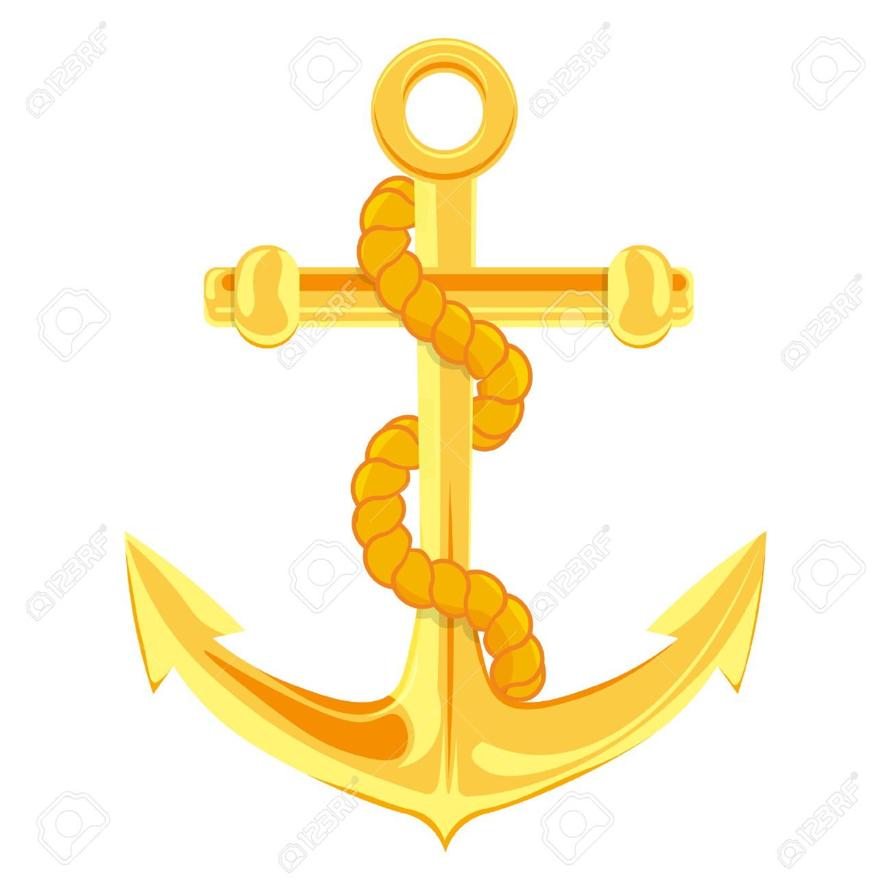 Gold Anchor Vector Illustration Isolated On A White Background Stock