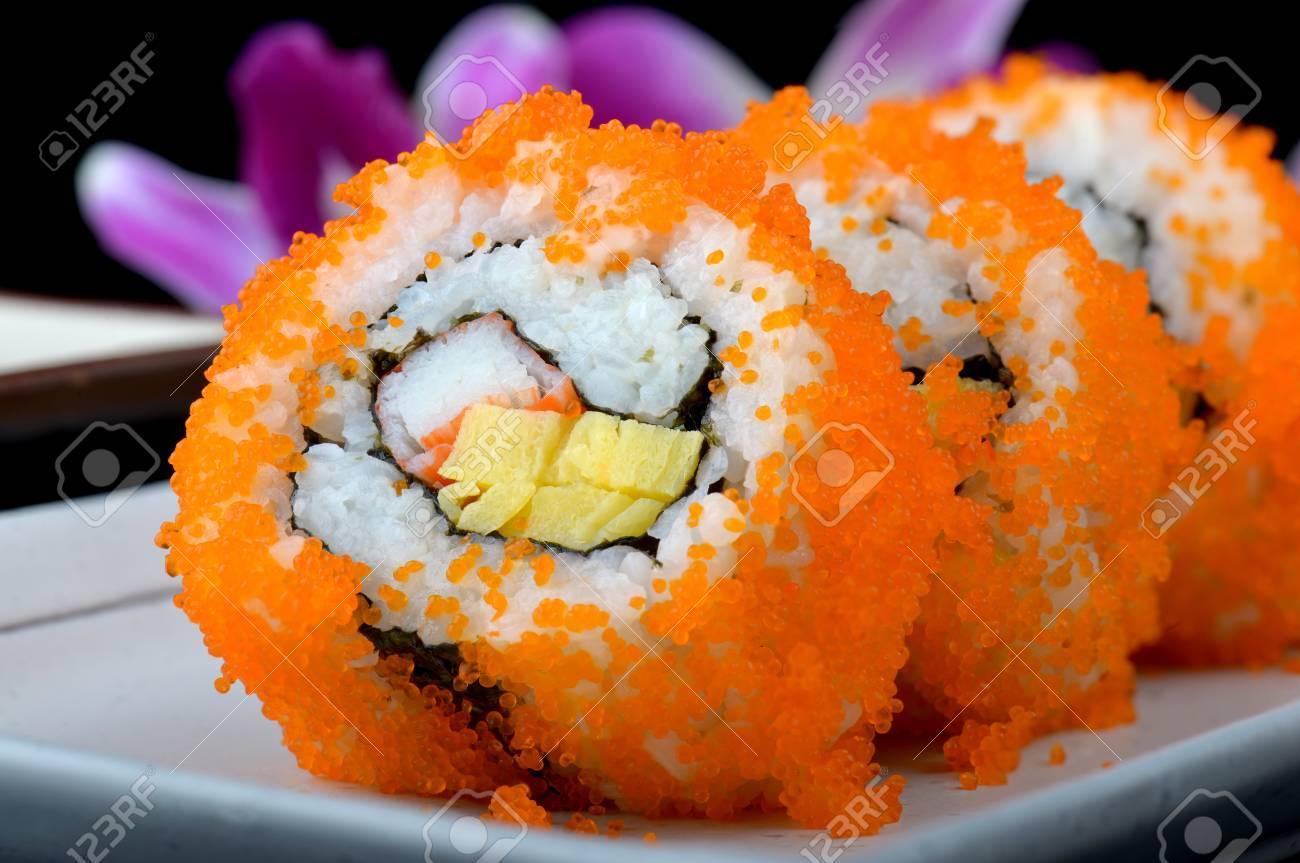 Flying fish eggs sushi