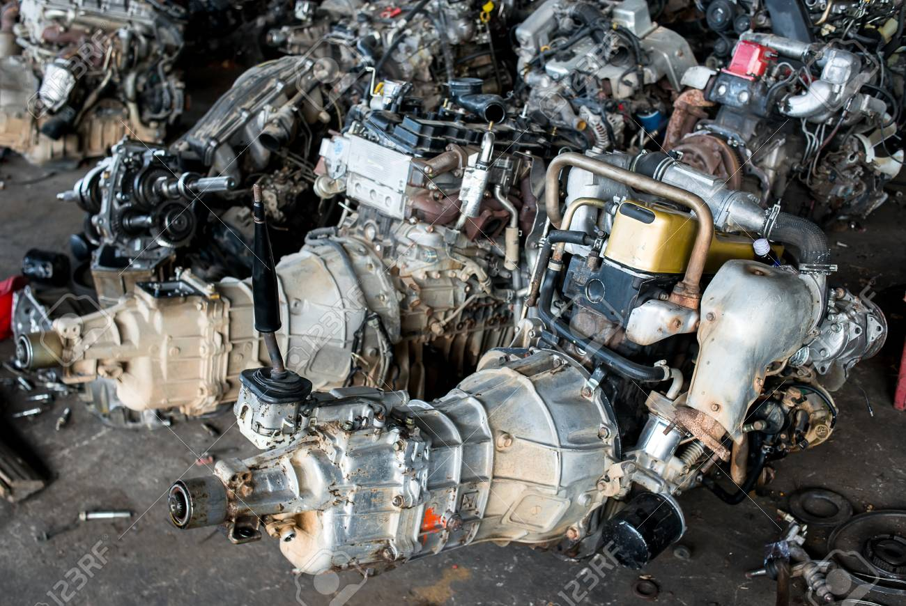 Old Car For Sale >> Used And Old Car Engine In The Recycle Garage For Sale Photo