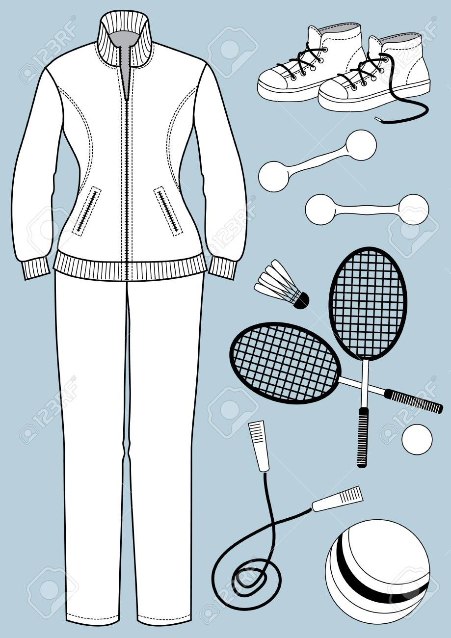 Woman clothes and equipment for sport object isolated for design Stock Vector - 18639263