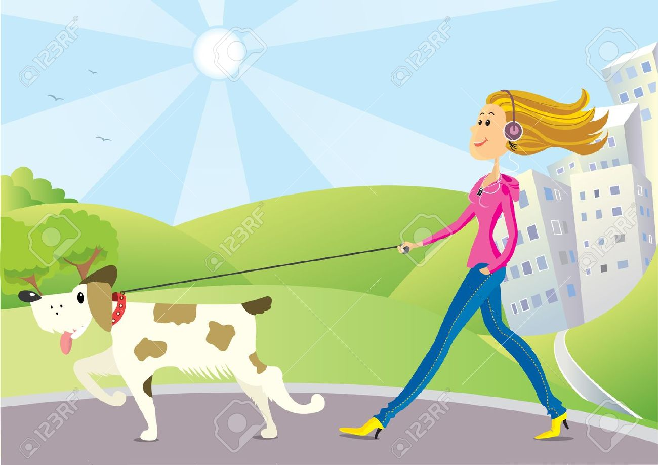 nice woman with dog walking in park in sunny day Stock Vector - 18638899