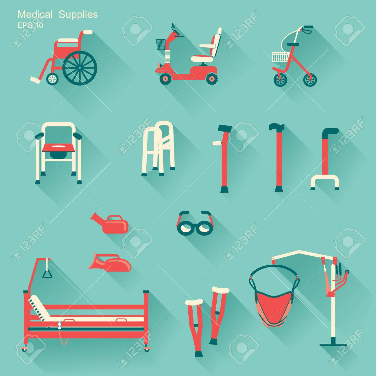 medical hospital equipment for disabled people.Vector flat icons - 29453081
