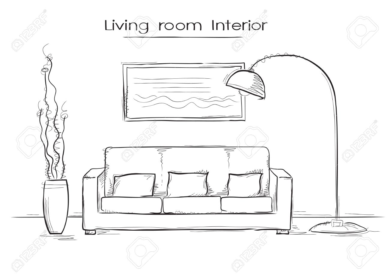 Sketchy illustration of living room interior hand drawing modern home stock vector 57016246