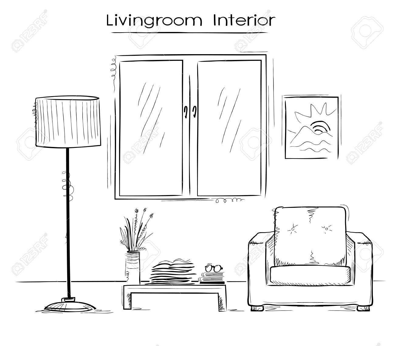 Sketchy color illustration of bedroom interior hand drawing modern home stock vector 57016248