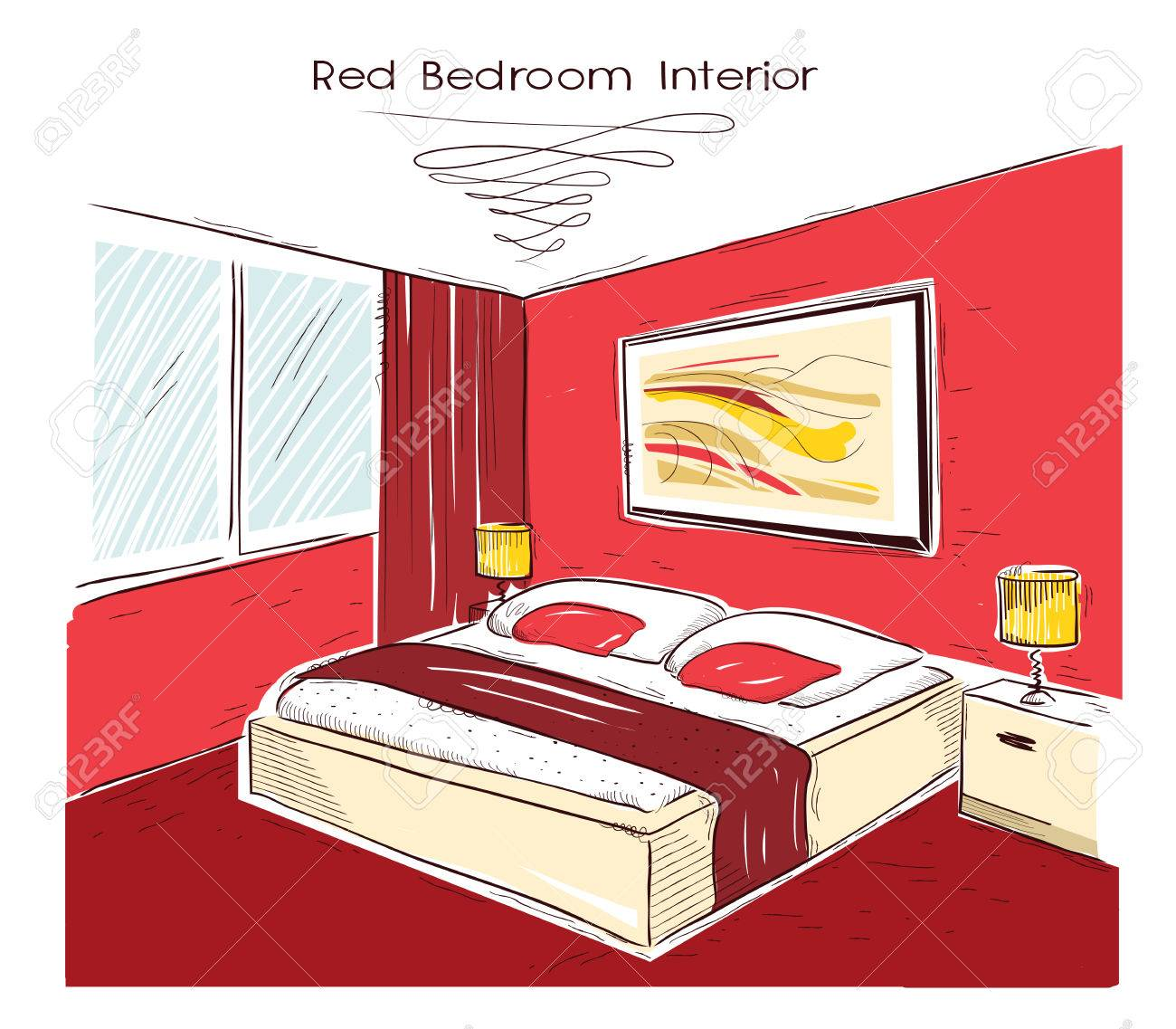 Interieur De La Chambre Rouge Dessin Maison Moderne Illustration Main Clip Art Libres De Droits Vecteurs Et Illustration Image 57016252