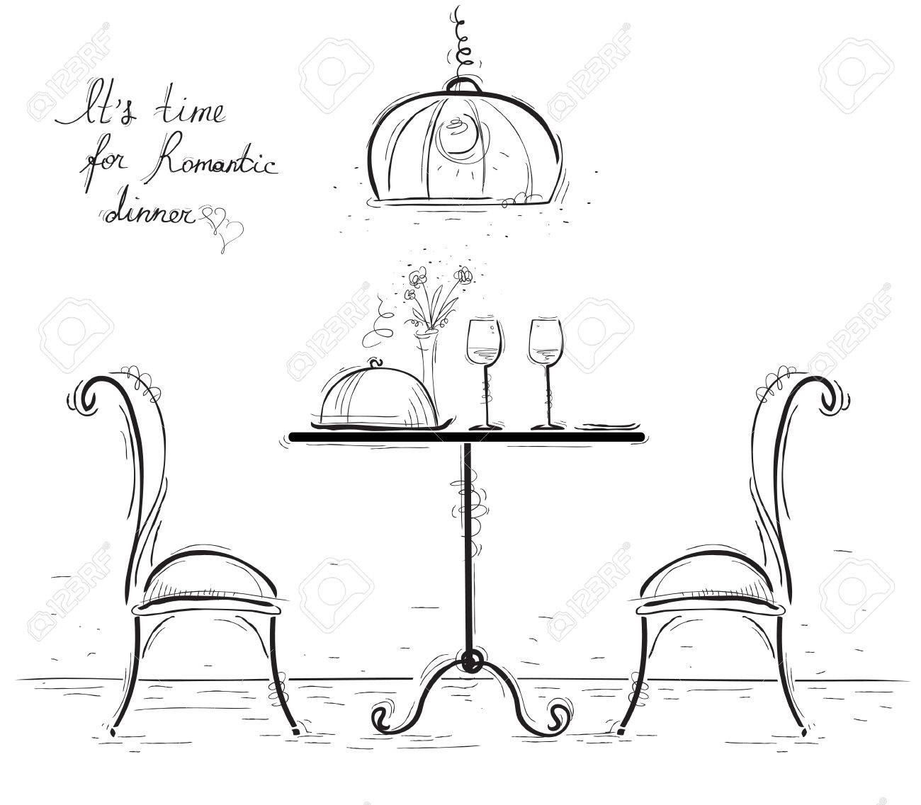 Romantic dinner for two lovers.Sketchy illustration with table and two chairs isolated on white. - 57016255