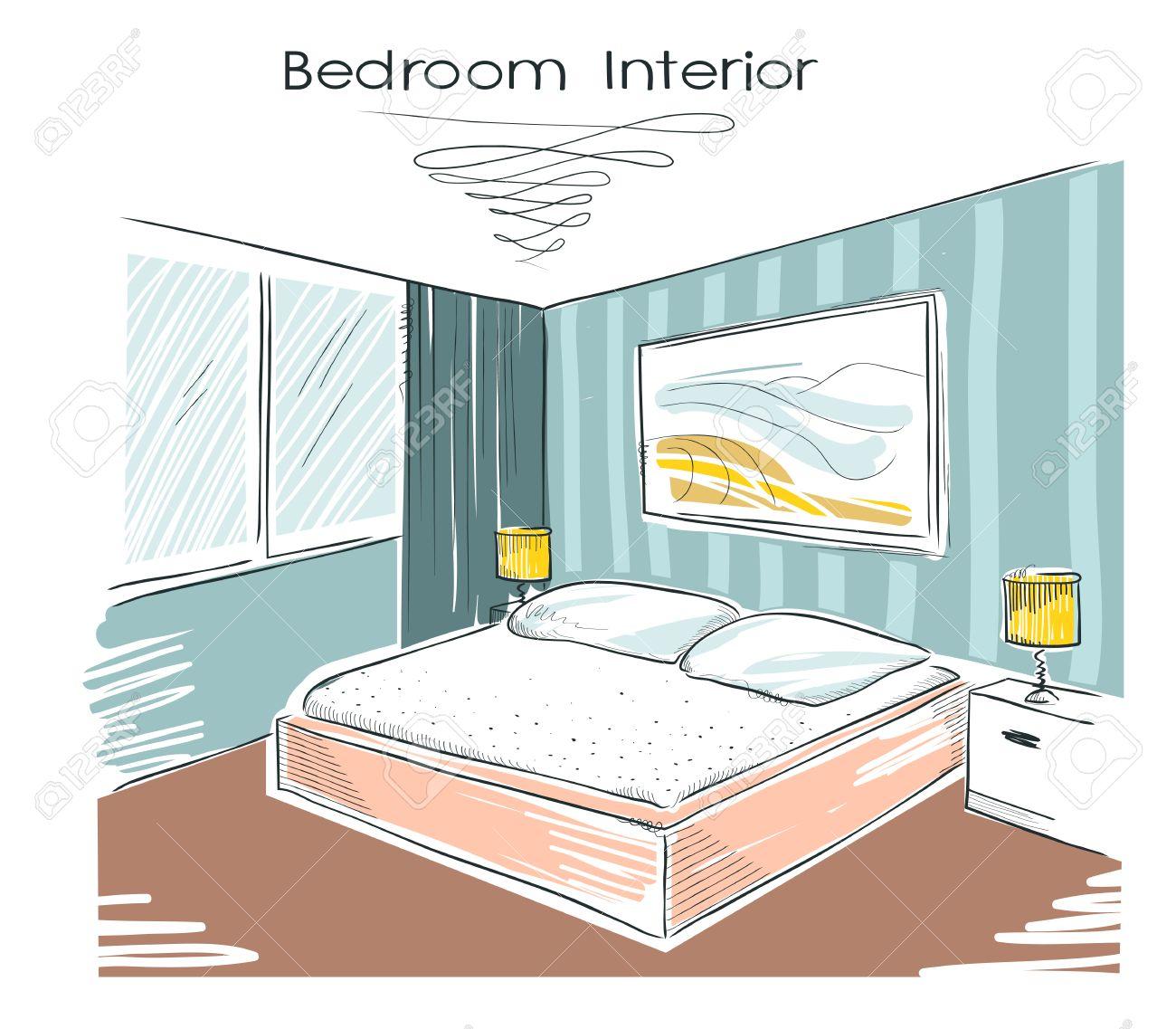 Sketchy illustration couleur de l\'intérieur de la chambre. dessin maison  moderne main