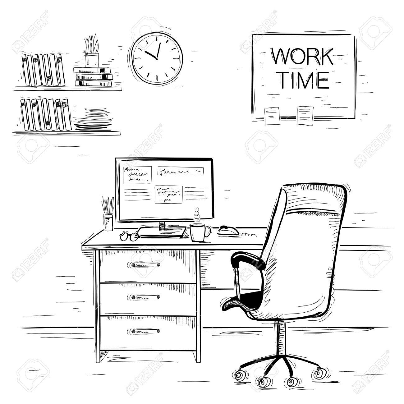 Office interior room.Sketchy illustration of work place on white - 57809874