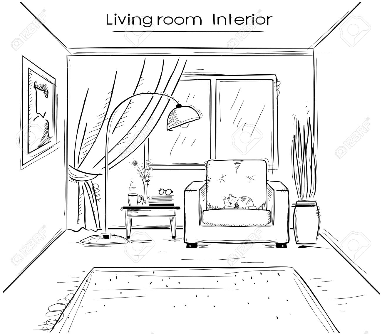 Interior sketchy illustration of living room hand drawing modern home isolated on white stock vector