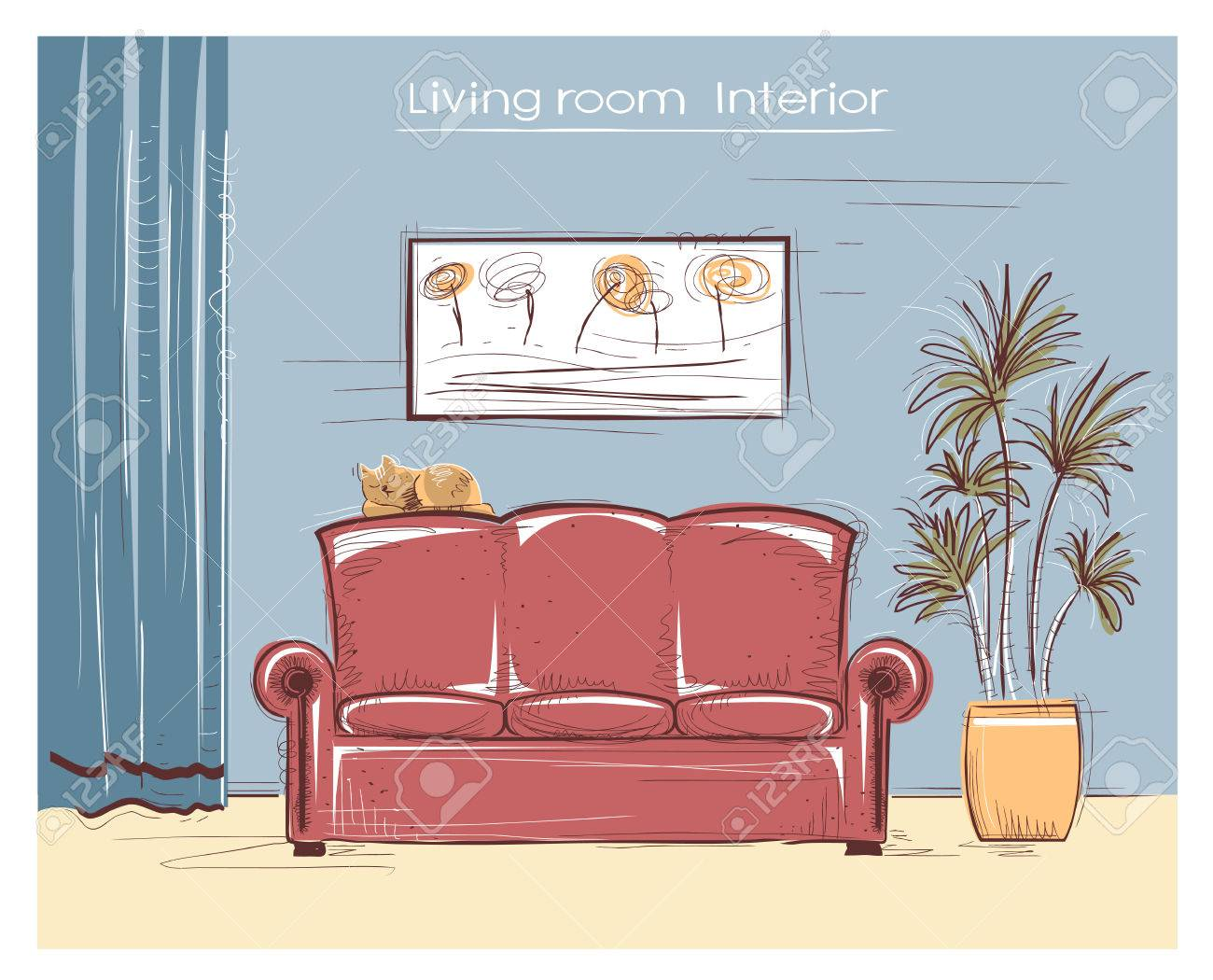 Couleur Sommaire Illustration Intérieur Du Salon Dessin Maison Moderne Avec Un Chat Main