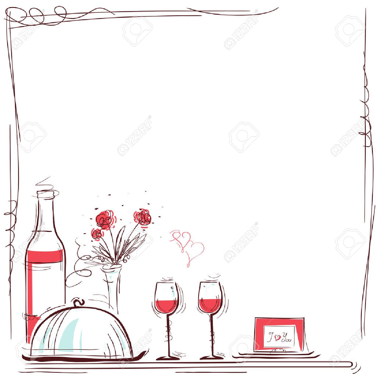 Romantic dinner card illustration with wine and food for lovers. background for text - 57993135