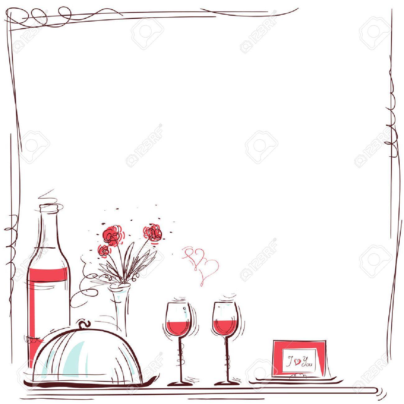 Ejemplo De La Tarjeta Romántica Cena Con Vino Y Comida Para Los Amantes Fondo Para El Texto