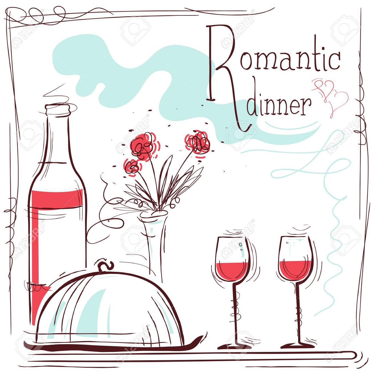 Card Illustration Cena Romántica Con El Vino Y La Comida Y El Texto