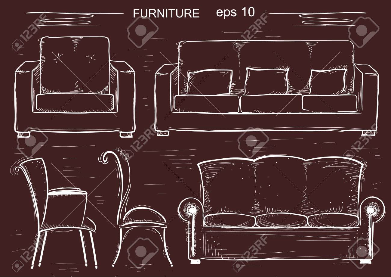 Set of couch and armchairs. sketchy furnitures isolated - 57993141