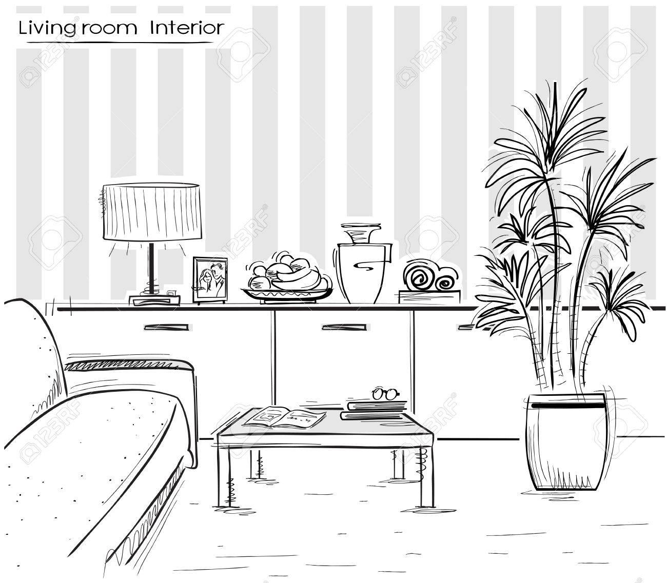 Unter Der Wohnzimmer Schwarz Skizzenhafte Darstellung Der Modernen