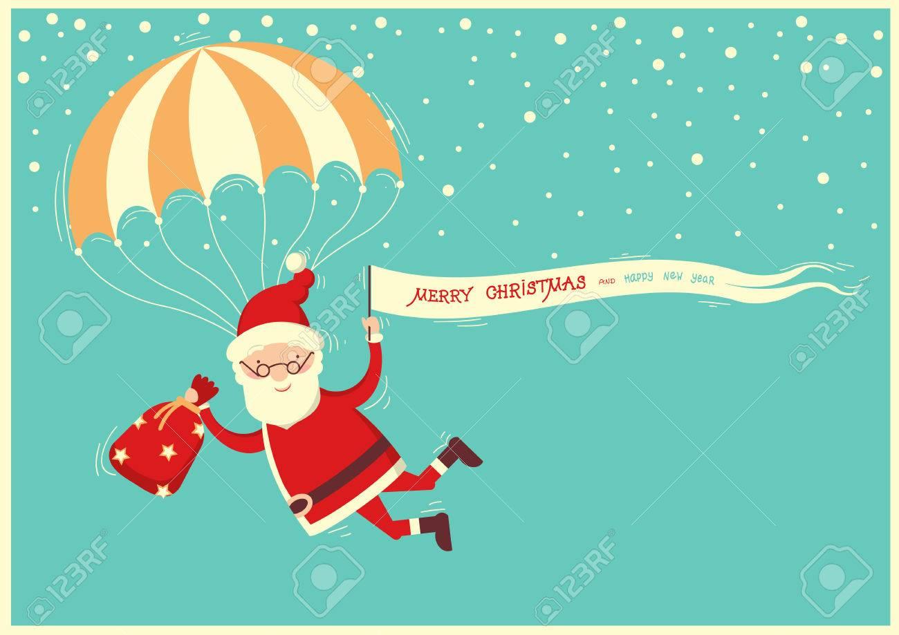 santa claus with parachute on blue sky backgroundmerry christmas card illustration stock vector - Santa Claus Christmas Cards