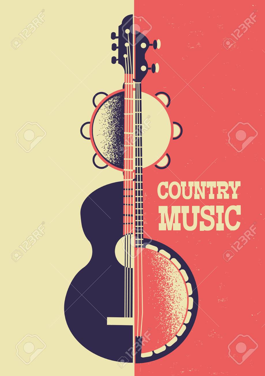 Country Music Poster Color Background With Musical Instruments Royalty Free Cliparts Vectors And Stock Illustration Image 108934547