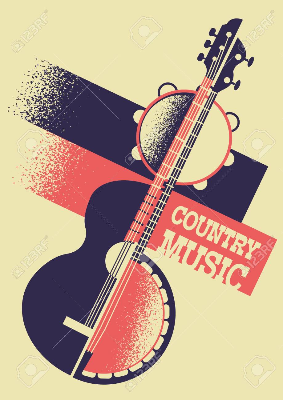 Country Music Color Background With Musical Instruments On Retro Royalty Free Cliparts Vectors And Stock Illustration Image 108934549