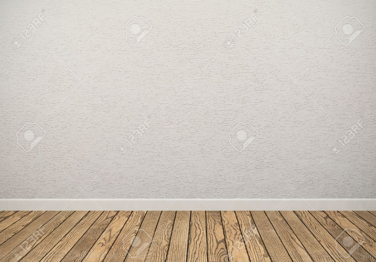 Empty Room With White Wall And Wooden Floor Stock Photo Picture