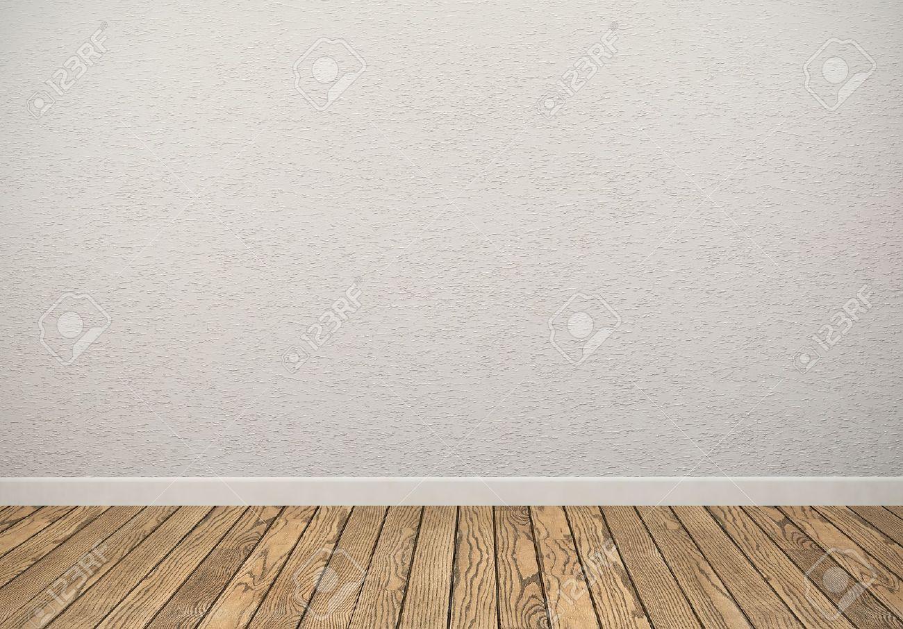 Leerer Raum Mit Weißen Wand Und Holzboden Lizenzfreie Fotos ...