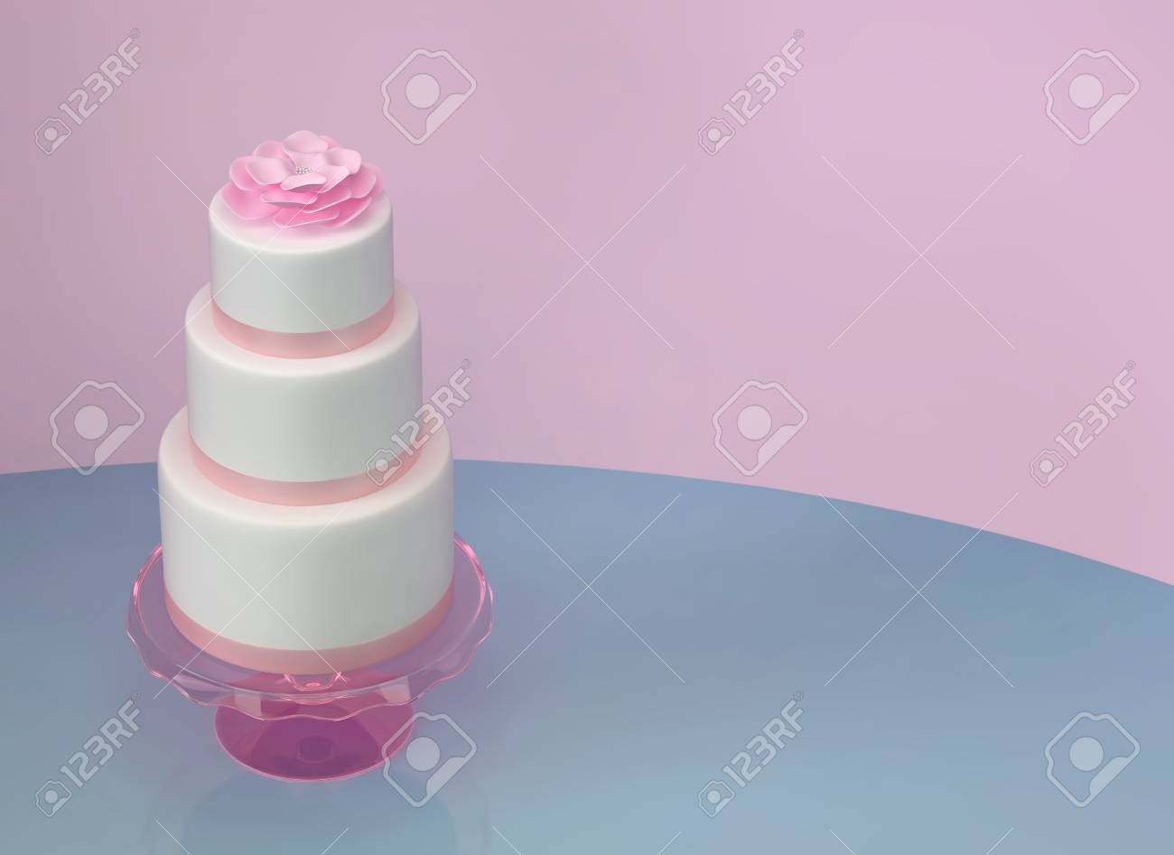 Wedding Cake Birthday Cake With Pink Flower On Blue And Pink