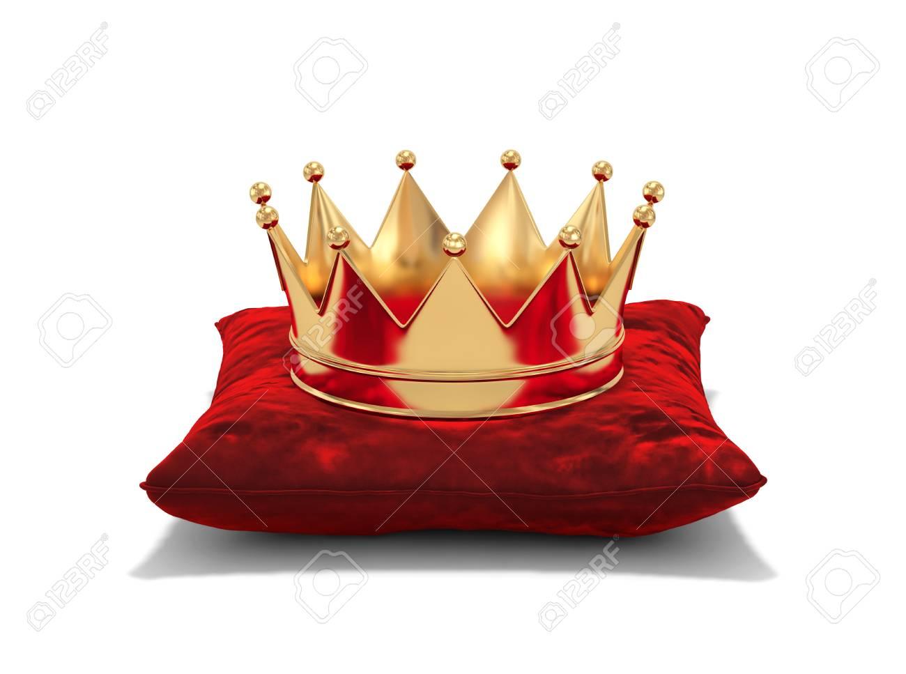 Gold crown on red velvet pillow isolated on white. 3D rendering - 89100402